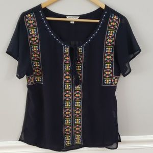 American Eagle Embroidered Sheer Navy Blouse Top